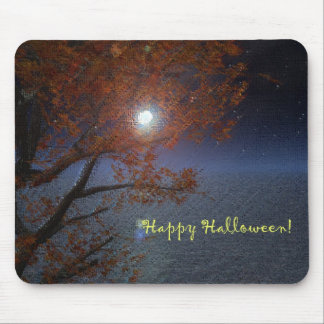 Halloween Night Moon Over The Sea Mouse Pad