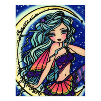 Halloween Night Moon Star Fairy Fantasy Art Girl Postcard