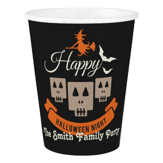 Halloween Night Party. Skulls Bats and Witches. Paper Cup