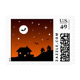 Halloween Night Sky Silhouette Stamps