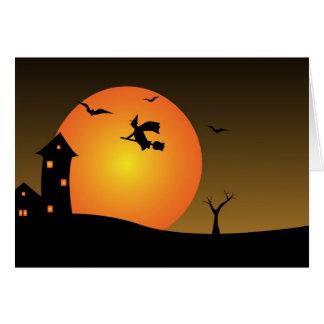 Halloween night witch card