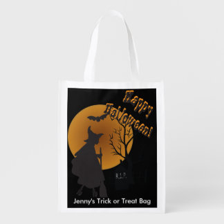 Halloween Night Witch Illustration Reusable Grocery Bag