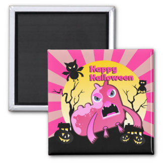 Halloween night with monsters 2 inch square magnet