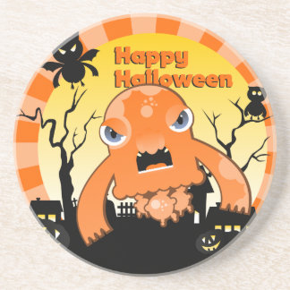 Halloween night with monsters drink coaster