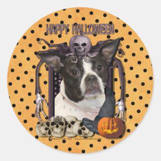 Halloween Nightmare - Boston & Rat Terrier - Jazy Round Sticker