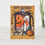 Cute Halloween Nightmare Dog & Pumpkin Card (Visit shop to explore more cute and quirky pet photo cards)
