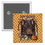 Halloween Nightmare - Doberman - Rocky Pinback Button