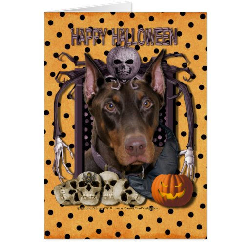 Halloween Nightmare - Doberman - Rocky Greeting Cards