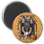 Halloween Nightmare - German Shepherd - Kuno Refrigerator Magnets