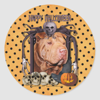 Halloween Nightmare - Shar Pei - Lucky Round Sticker