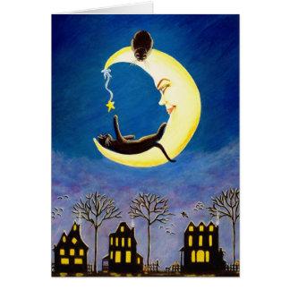 Halloween,note,card,moon,black,cats,star
