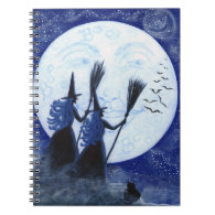 Halloween notebook, man in the moon,witches spiral notebook