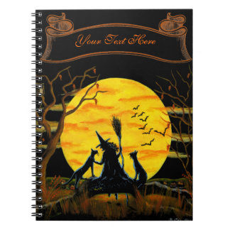 Halloween notebook, witch and black cats