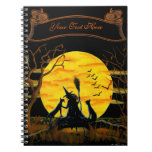 Halloween notebook, witch and black cats spiral note books