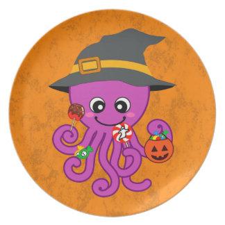 Halloween Octopus Melamine Plate