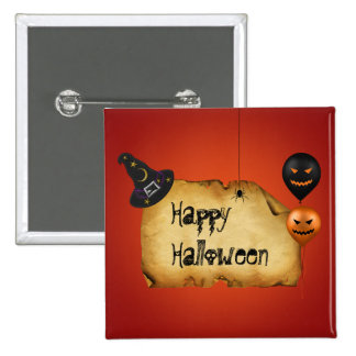 Halloween Old Parchment Greeting - Button