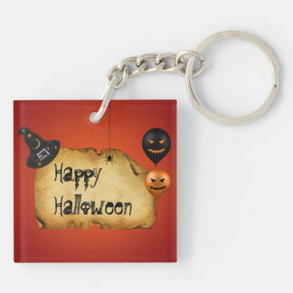 Halloween Old Parchment Greeting - Keychain