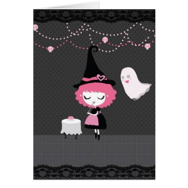 mairim_art Halloween (or Birthday) Pink Cute Witch card