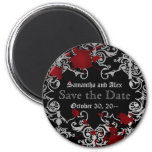 Halloween or vampire theme wedding save the date 2 inch round magnet