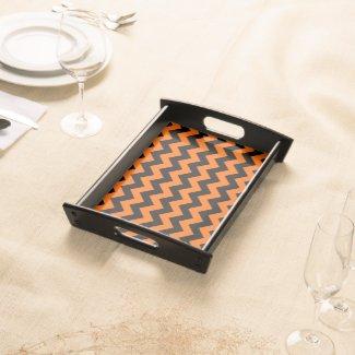 Halloween Orange And Black Chevron Serving Platters