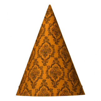 Halloween Orange and Black Damask Grunge Party Hat