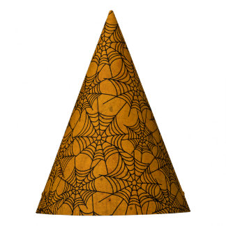 Halloween Orange and Black Grunge Cobweb Party Hat