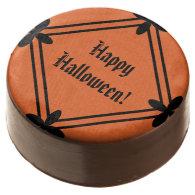 Halloween Orange and Black Pattern Chocolate Dipped Oreo