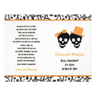 Halloween orange and black skull wedding program