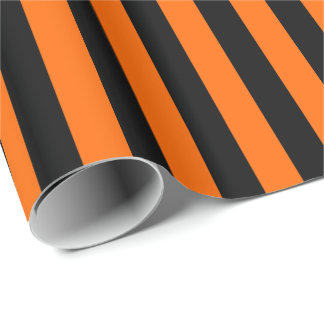 Halloween Orange and Black Stripe Wrapping Paper