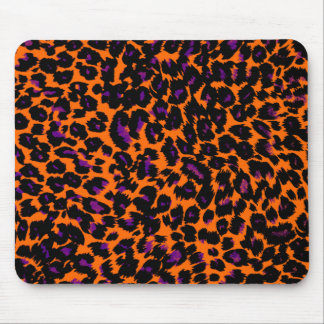 Halloween Orange and Purple Leopard Spots Mouse Pad