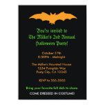 Halloween Orange Bat on Black Party Invitation