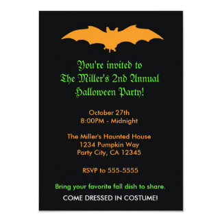 Halloween Orange Bat on Black Party Invitation