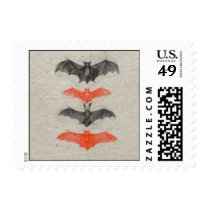 Halloween Orange Black Bats Vintage Antique Gothic Postage