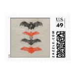 Halloween Orange Black Bats Vintage Antique Gothic Stamp