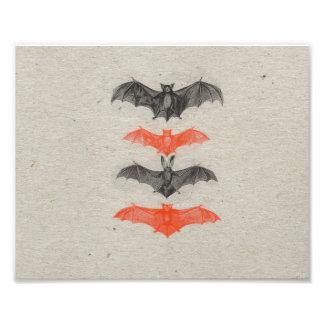 Halloween Orange Black Bats Vintage Gothic Party Photo Print