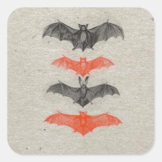 Halloween Orange Black Bats Vintage Gothic Party Square Sticker