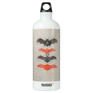 Halloween Orange Black Bats Vintage Gothic Party Water Bottle