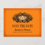 🎃  Halloween Orange & Black Bold Save the Date Announcement Postcard