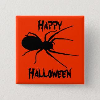 Halloween Orange Black Creepy Spider Button