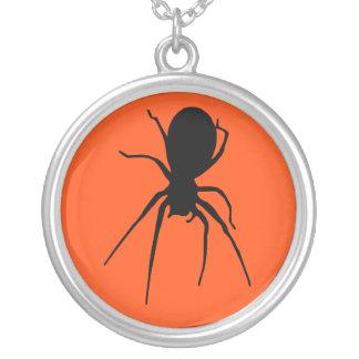 Halloween Orange Black Creepy Spider Necklace