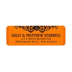 Halloween Orange & Black Elegance Address Label