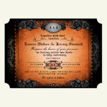 Halloween Orange Black Gothic Together RECEPTION Invitation