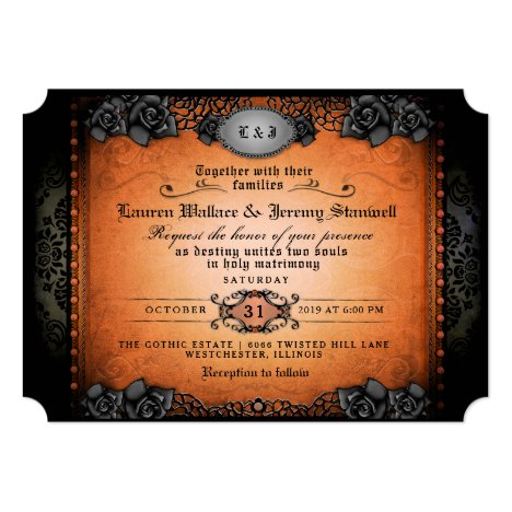 Halloween Orange Black Gothic Together RECEPTION Invitation