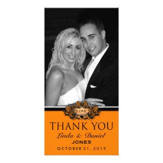 Halloween Orange & Black LOVE Photo Thank You Card