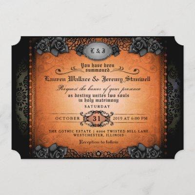 Halloween Orange Black Roses Gothic Wedding Invite
