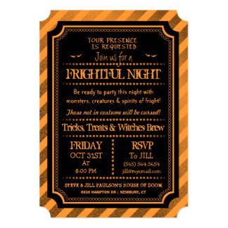Halloween Orange & Black Spooky Frightful Night Card