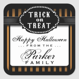 Halloween Orange & Black Striped Trick or Treat Square Sticker