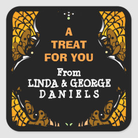Halloween Orange & Black Treat for You Custom Square Sticker