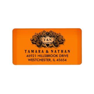 Halloween Orange & Black Wedding Address Label