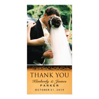 Halloween Orange & Black Wedding Photo Thank You Card